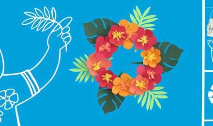 Een krans van kleurrijke bloemen en een slinger van lantaarns gemaakt van gerecycled karton met geïllustreerde mensen