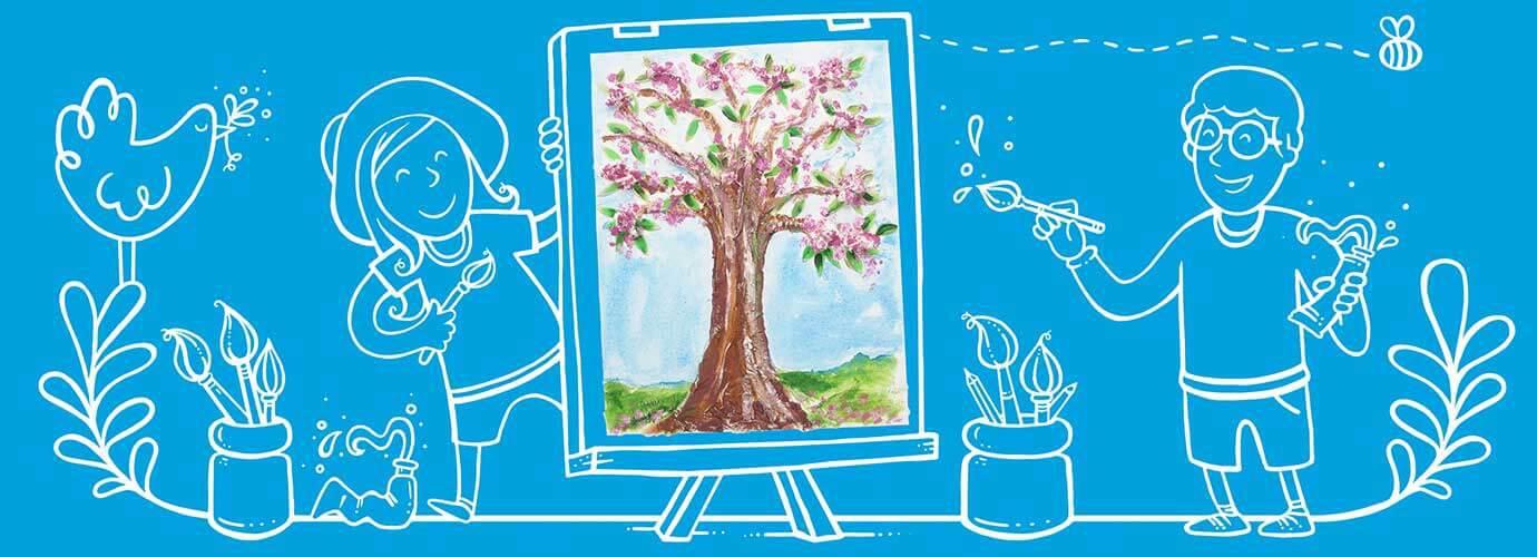 Gelaagde kunstwerken schilderen met kinderen
