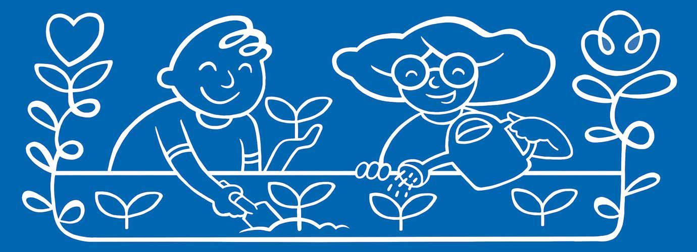 Geïllustreerde kinderen geven planten water in de tuin