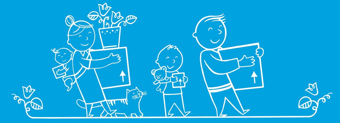 Geïllustreerde gezin met verhuisdozen