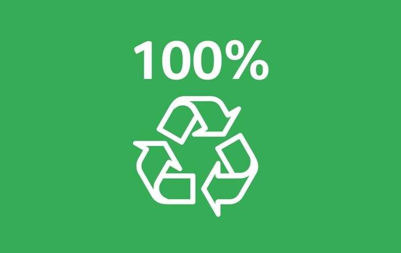 100% recyclebare verpakking